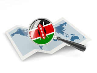 Magnified flag of kenya with map