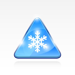Attention symbol with snowflake
