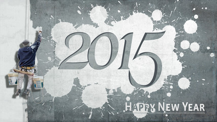 Happy New Year 2015 on facade