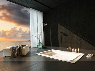 Romantic sunken bathtub at sunset with candles