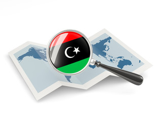 Magnified flag of libya with map