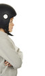 Boy with black moto helmet