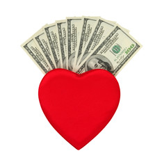 red heart and dolar