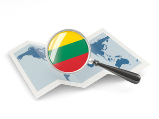 Magnified flag of lithuania with map