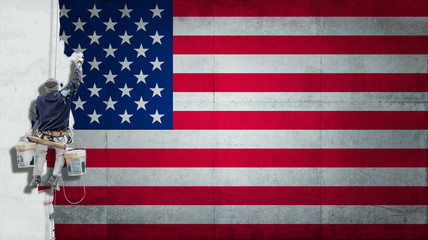 Industrial paint American Flag