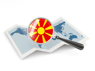 Magnified flag of macedonia with map