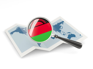 Magnified flag of malawi with map