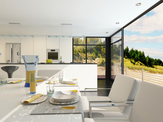 Modern open-plan dining area