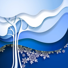 Abstract winter tree. Paper nature background.