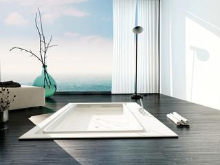 Stylish sunken bath in a modern bathroom