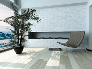 Relaxing Chair and Palm Plant in front Window