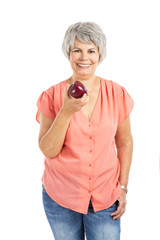 Old woman eating an apple