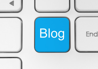 Blog button on the keyboard close-up.