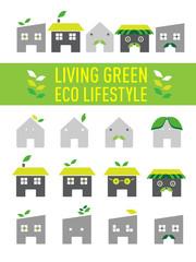 Green Living city living ,Home Building cartoon icon