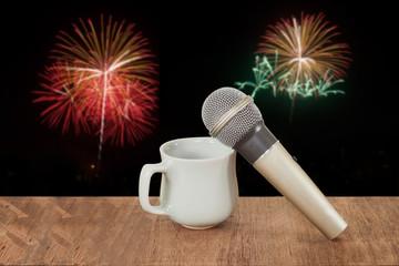 karaoke microphone and soft firework background