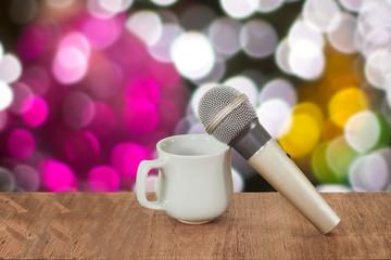 karaoke microphone and soft light background