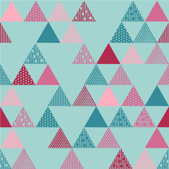 Pink and blue textured triangle pattern