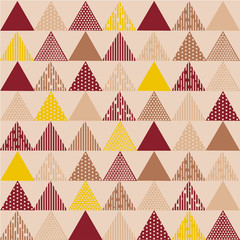 Burgundy yellow triangle textured pattern