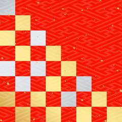 金銀朱赤市松和紙