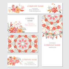 Set of business or invitation cards templates, corporate identit