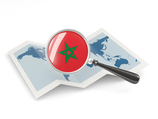 Magnified flag of morocco with map