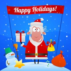 Sheep Santa Claus holiday illustration