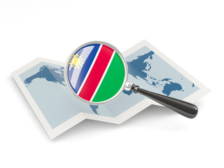 Magnified flag of namibia with map