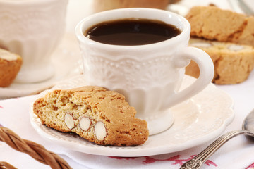 Good morning concept - Breakfast with cantuccini and coffee