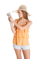 Woman making photos on vacations