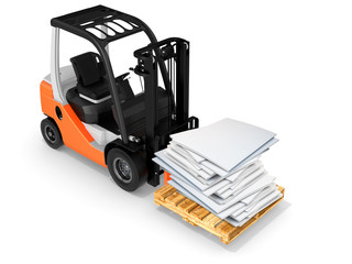3d forklift with pallet and paper stack