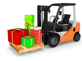 3d forklift with gift boxes