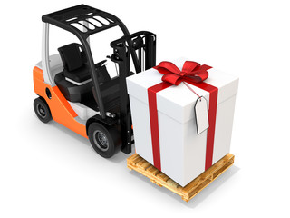 3d forklift with huge gift box