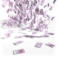 Geldregen aus 500 Euroscheinen