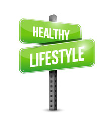 healthy lifestyle road sign illustration