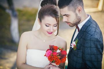Wedding dress with a train