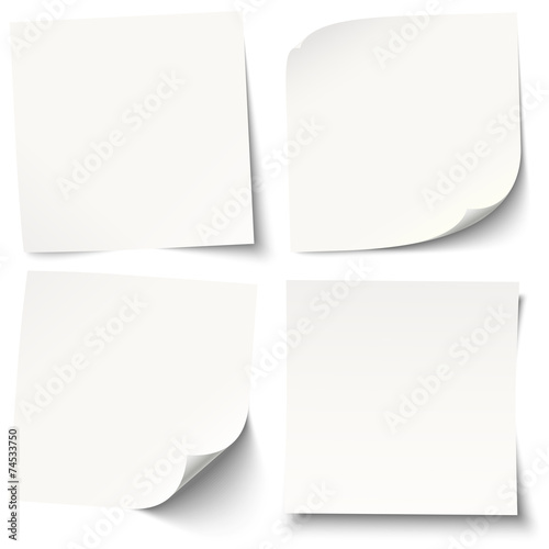 white sticky notes with different shadows - 74533750