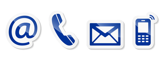 Contact Us – Blue sticker icons