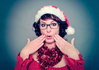 santa-girl with glasses wondering - christmastime 08