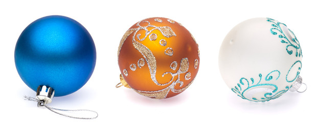 blue, orange, white christmas balls on white background