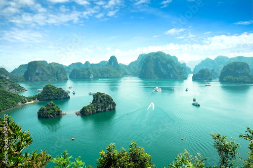 Poster Halong Bay in Vietnam. Unesco World Heritage Site.