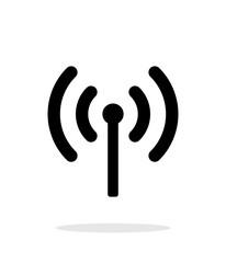 Radio antenna sending signal icon on white background.