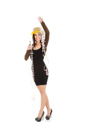 Woman in party dress celebrate New Year