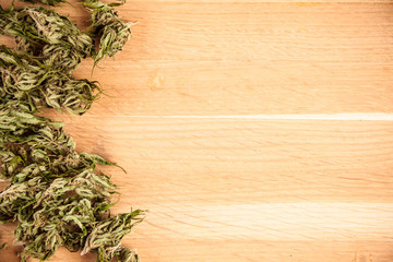 big canabis marijuana plant detail on wood table