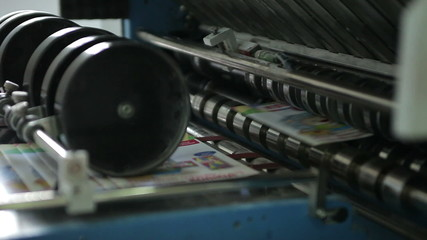 Newspaper production line. Print press webset machine