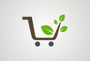 Shopping cart plant ecology logo vector