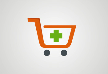 Shopping cart icons buy medical tools logo vector