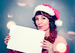 Santa-girl holding board - Christmastime 09
