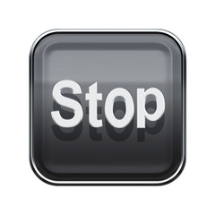 Stop icon glossy grey, isolated on white background