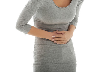 Woman with huge stomachache