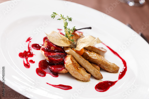 canvas print picture foie gras with sauce